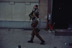 Belgian soldiers securing the streets Royalty Free Stock Photography