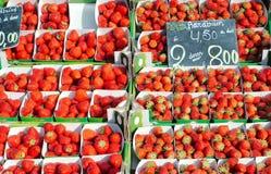 Belgian strawberries in a market. Display of belgian strawberries in a market Royalty Free Stock Photo