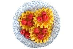 Belgian Style Breakfast Waffles with Raspberries Stock Photo