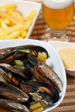 Belgian style mussels Stock Images