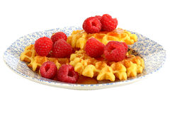 Belgian Style Waffles with Fresh Raspberries and Syrup Stock Image