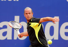 Belgian tennis player Xavier Malisse. In action during his match against Ferrero of   Barcelona tennis tournament Conde de Godo on April 19, 2011 in Barcelona Stock Photography