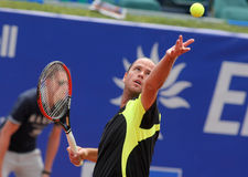 Belgian tennis player Xavier Malisse. In action during his match against Ferrero of   Barcelona tennis tournament Conde de Godo on April 19, 2011 in Barcelona Royalty Free Stock Photo
