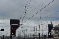 Belgian trains, trainstation. Various wires and cables red lights Stock Photography