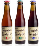 Belgian trappist beer Rochefort 6, 8, and 10 isolated on white. Belgian trappist beer Rochefort 6, 8 and 10 isolated on a white background Royalty Free Stock Images