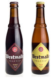 Belgian trappist beers Westmalle Dubbel and Tripel isolated on white Stock Photo