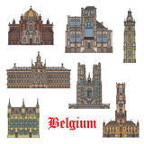 Belgian travel landmarks icon for tourism design Royalty Free Stock Photo