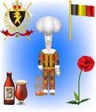 Belgian Vector Illustrations. The Belgian Coat of arms, the Belgian Flag, a Belgian Gille, Bier and the Red Poppy Stock Photos