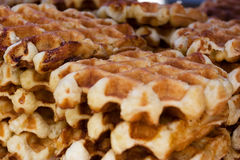 Belgian waffle. A stack of belgian waffles Royalty Free Stock Images