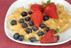 Belgian waffle with berries Stock Photo