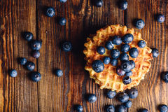 Belgian Waffle with Blueberry. Stock Photo