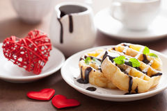 Belgian waffle with chocolate raspberry and hearts for Valentine Royalty Free Stock Photos
