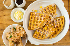 Belgian waffle with crispy chicken tenders. For breakfast Royalty Free Stock Image