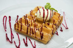 Belgian waffle with ice cream. Stock Photography