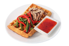 Belgian waffle with salad at green beans, peppers and bacon. Stock Photos