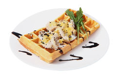 Belgian waffle with a salad of shrimp and mushrooms. Stock Images