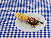 Belgian waffle on a stick Royalty Free Stock Photos