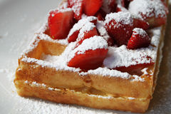 Belgian Waffle and Strawberries Royalty Free Stock Photography