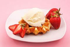 Belgian waffle, strawberry and ice cream Royalty Free Stock Image