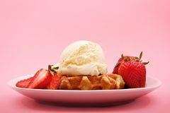Belgian waffle, strawberry and ice cream Stock Image