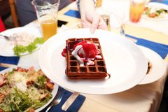 Belgian waffle on a table in a cafe stock images