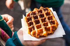 Belgian waffle. Typical belgian waffle in the street, ready to eat Royalty Free Stock Photos