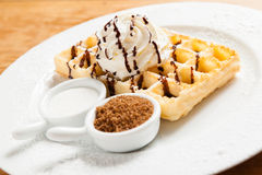 Belgian Waffle with whipped cream Stock Photography