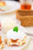 Belgian waffle with whipped cream Royalty Free Stock Photo