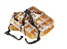 Belgian waffles. Isolated on white Royalty Free Stock Photos