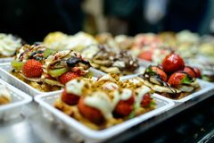 Belgian waffles in bakery stock photos