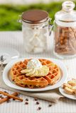 Belgian waffles with bananas and whipped cream Stock Image