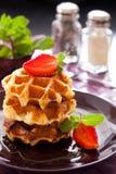 Belgian waffles. With fresh strawberry Stock Images