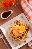 Belgian waffles. With icecream and orange Royalty Free Stock Photo