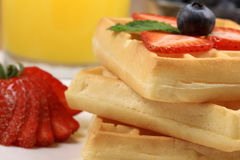 Belgian waffles with berries Stock Photo