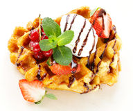 Belgian waffles with berries (currants, strawberries) Royalty Free Stock Photos