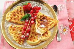 Belgian waffles with berries Stock Photos
