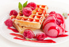 Belgian waffles with berries Royalty Free Stock Images