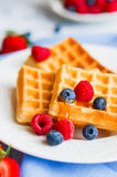 Belgian waffles with berries on rustic background Stock Photos