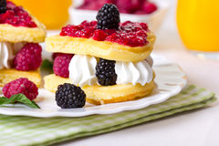 Belgian waffles with berries Royalty Free Stock Photos