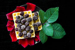 Belgian waffles with blackberries on a black background with petals of roses Royalty Free Stock Photography