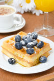 Belgian waffles with blueberries, coffee and orange juice for br. Eakfast closeup vertical Royalty Free Stock Photo