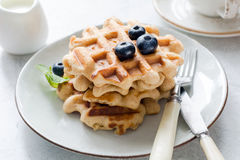 Belgian waffles with blueberries. And honey on a plate, closeup view Royalty Free Stock Image