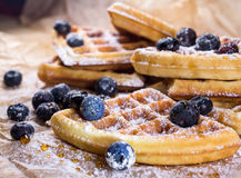 Belgian waffles with blueberries with honey and sugar powder. Close up. Belgian waffles with blueberries close up stock photography