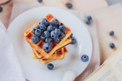 Belgian waffles with blueberries on the light wooden table. Healthy breakfast. Horizontal format Stock Photography