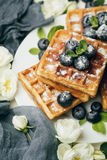Belgian waffles with blueberries and mint Stock Images