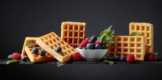 Belgian waffles with  blueberries, raspberries  and fresh mint royalty free stock photography