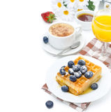 Belgian waffles with blueberries and strawberries Stock Photography
