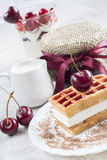 Belgian waffles with cherry Royalty Free Stock Images