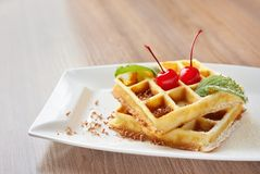 Belgian waffles with cherry Stock Image