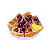 Belgian waffles with cherry syrup in a white dish, watercolor illustration Royalty Free Stock Photos